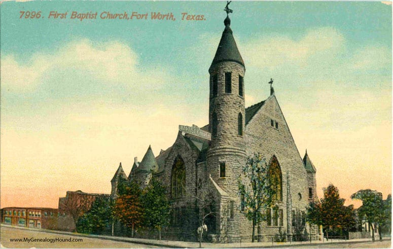 TX-Fort-Worth-Texas-First-Baptist-Church-vintage-postcard